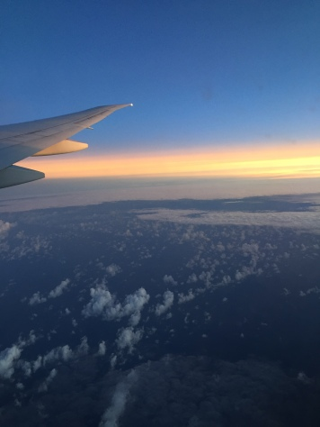 Sunset off the coast of Africa - on our way from JHB to Dubai